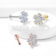Five Pear CZ Petal Flower Internally Threaded 316L Surgical Steel Flat Back Studs for Labret, Monroe, Ear Cartilage and More