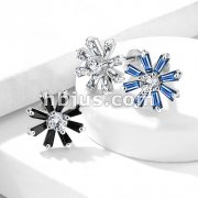 Prong CZ Center with Baguette Crystal Petals 316L Surgical Steel Internally Threaded Labret, Monroe, Cartilage Studs