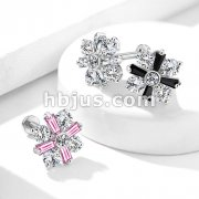 CZ Center with Round and Baguette Crystal Petals 316L Surgical Steel Internally Threaded Labret, Monroe, Cartilage Studs