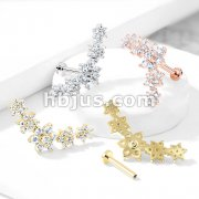 Five Double Tiered CZ Flowers Curve Top 316L Surgical Steel Internally Threaded Labret, Monroe, Ear Cartilage, and More