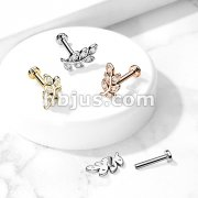 Micro CZ Paved Leaf Top on Internally Threaded 316L Surgical Steel Flat Back Studs for Labret, Monroe, Ear Cartilage and More