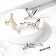Double Lined CZ Paved Curve Top on Internally Threaded 316L Surgical Steel Flat Back Studs for Labret, Cartilage and More