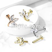 3-Marquise CZ Leaf Top on Internally Threaded 316L Surgical Steel Flat Back Studs for Labret, Monroe, Cartilage and More