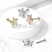 Marquise CZ Flower Top on Internally Threaded 316L Surgical Steel Flat Back Studs for Labret, Monroe, Cartilage, and More