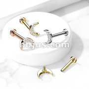 CZ Paved Crescent Moon Top on Internally Threaded 316L Surgical Steel Flat Back Studs for Labret, Monroe, Cartilage and More