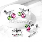 CZ Cherry Top on Internally Threaded 316L Surgical Steel Flat Back Studs for Labret, Monroe, Cartilage and More