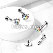 Rainbow Striped Heart Top Internally Threaded 316L Surgical Steel Flat Back Studs for Labret, Monroe, Ear Cartilage and More