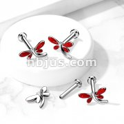 Dragonfly Top on Internally Threaded 316L Surgical Steel Flat Back Studs for Labret, Monroe, Cartilage and More