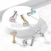 Triangle CZ Set Internally Threaded 316L Surgical Steel Flat Back Studs for Labret, Monroe, Cartilage and More