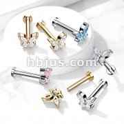 CZ Butterfly Top on Internally Threaded 316L Surgical Steel Flat Back Studs for Labret, Monroe, Cartilage and More