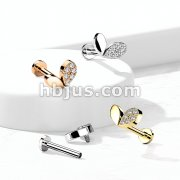 Sprout Heart with CZ Top on Internally Threaded 316L Surgical Steel Flat Back Studs for Labret, Monroe, Cartilage and More