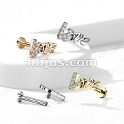 Love with CZ Paved Top on Internally Threaded 316L Surgical Steel Flat Back Studs for Labret, Monroe, Cartilage and More