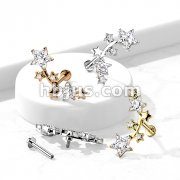 Multi Star CZ Vine Top Internally Threaded 316L Surgical Steel Flat Back Studs for Labret, Monroe, Cartilage and More