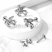 CZ Paved Unicorn on Internally Threaded 316L Surgical Steel Flat Back Studs for Labret, Monroe, Cartilage, and More