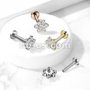 Paved Round CZ Flower Top on Internally Threaded 316L Surgical Steel Flat Back Studs for Cartilage, Labret, and More
