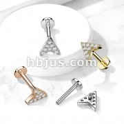 Paved Round CZ Chevron Arrow Top on Internally Threaded 316L Surgical Steel Flat Back Studs for Cartilage, Labret, and More