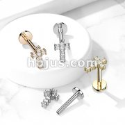 Paved Round CZ Cross Top on Internally Threaded 316L Surgical Steel Flat Back Studs for Cartilage, Labret, and More