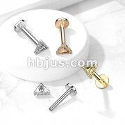 Beaded Edge Triangle 316L Surgical Steel Internally Threaded Labret, Monroe, Cartilage Stud Rings