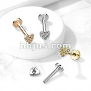 Diamond Cut Heart 316L Surgical Steel Internally Threaded Labret, Monroe, Cartilage Stud Rings
