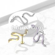 Snake Paved CZ Top on Internally Threaded 316L Surgical Steel Flat Back Studs for Labret, Monroe, Cartilage and More