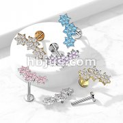 Triple CZ Flower Cluster Top on Internally Threaded 316L Surgical Steel Flat Back Studs for Labret, Monroe, Cartilage and More