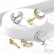 CZ Paved Crescent Moon Internally Threaded 316L Surgical Steel Flat Back Studs for Labret, Monroe, Cartilage and More