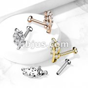 Micro CZ Paved Leaf Top on Internally Threaded 316L Surgical Steel Flat Back Studs for Labret, Monroe, Cartilage and More