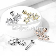 Triple 5 CZ Flower Curve Top on Internally Threaded 316L Surgical Steel Flat Back Studs for Labret, Monroe, Cartilage and More