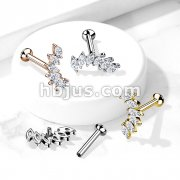 6 Marquise CZ Set Curve Top on Internally Threaded 316L Surgical Steel Flat Back Studs for Labret, Monroe, Cartilage and More