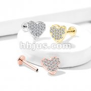 CZ Paved Curved Heart Top Internally Threaded 316L Surgical Steel Labret, Monroe, Ear Cartilage Studs Flat Back