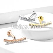 Lined CZ Curve Top 316L Surgical Steel Internally Threaded Labret, Monroe, Cartilage Studs