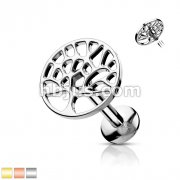 Tree of Life Top Internally Threaded 316L Surgical Steel Labret, Monroe, Cartilage Studs