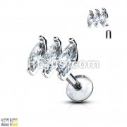 Triple Marquise CZ Prong Set Top 316L Surgical Steel Internally Threaded Labret, Monroe, Ear Cartilage Studs