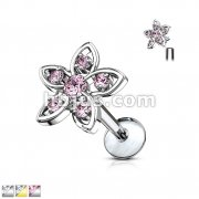 CZ Set Flower Top 316L Surgical Steel Internally Threaded Labret, Monroe, Ear Cartilage Studs