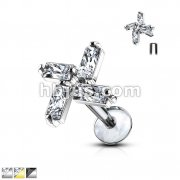 Four Princess CZ Swirl Top 316L Surgical Steel Internally Threaded Labret, Monroe, Ear Cartilage Studs