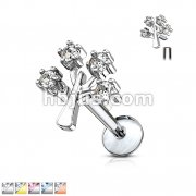 CZ Set Life Tree Top 316L Surgical Steel Internally Threaded Labret, Monroe, Ear Cartilage Studs