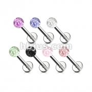 316L Surgical Steel Labret/Monroe with 3mm Glitter Colored Acrylic Ball 180pc Pack (30pcs x 6 colors)