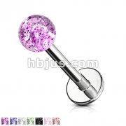 4mm Glitter Acrylic Ball 316L Surgical Steel Labret/Monroe