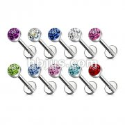 316L Surgical Steel Labret & Monroe with Austrian Crystal Paved Ferido Gem Top Ball 100pc Pack (20pcs x 10 color)