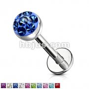 Austrian Crystal Paved Ferido Gem & Clear Epoxy CoveredTop Ball 316L Surgical Steel Labret & Monroe