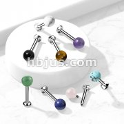 Natural Stone Internally Threaded 316L Surgical Steel Flat Back Studs for Labret, Monroe, Cartilage and More