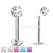100 pcs Crystal Paved Ferido Ball End Labret/Monroe Bulk Pack (20 pcs x 5 colors )