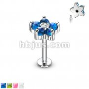 Opal Glitter Set Flower Petals CZ Center 316L Surgical Steel Labret,Monroe, Cartilage Studs