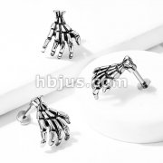 Skull Hand Top 316L Surgical Steel Flat Back Studs for Labret, Monroe, Ear Cartilage, and More
