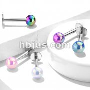 Metallic AB Coating Ball Over 316L Surgical Steel Flat back Studs for Labret, Monroe, Cartilage and More