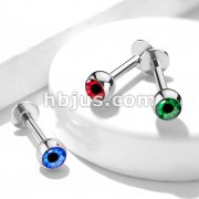 Round Eyeball Inlaid Ball 316L Surgical Steel Labret, Moroe, Cartilage Studs