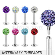 316L Surgical Steel Internally Threaded Ferido Crystal Top Labret Monroe 90pc Pack (10pcs x 9 colors)