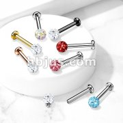 Internally Threaded 316L Surgical Steel with Epoxy Covered Crystal Paved Ball Top Flat Back Studs for Nose, Labret, Monroe, Cartilage and more