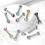 Press Fit Gem Set Ball Internally Threaded 316L Surgical Steel Micro Base Labret, Flat Back Studs