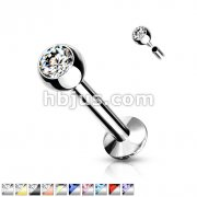 18 Gauge Internally Threaded 3mm Cambered Base Monroe/Labret Studs with Press Fit Gem 316L Surgical Steel